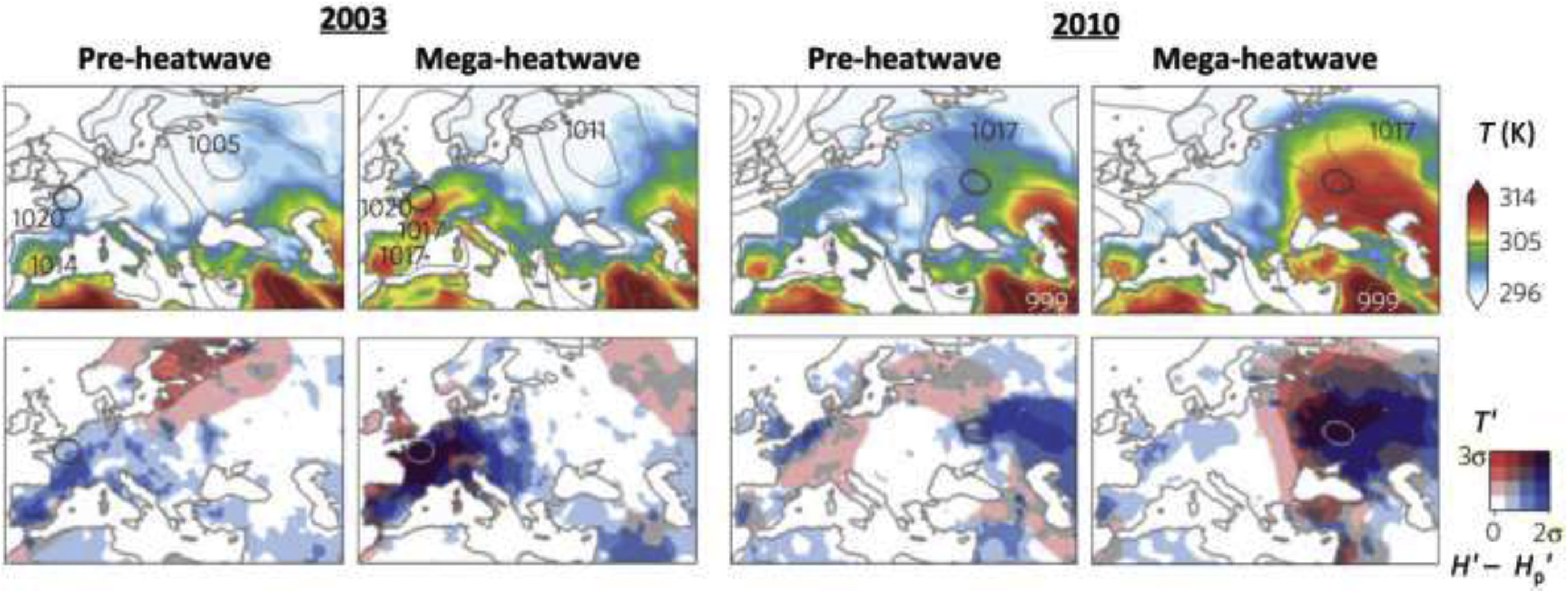 Science figure: temperature maps for 2003 and 2010 heatwaves in Europe