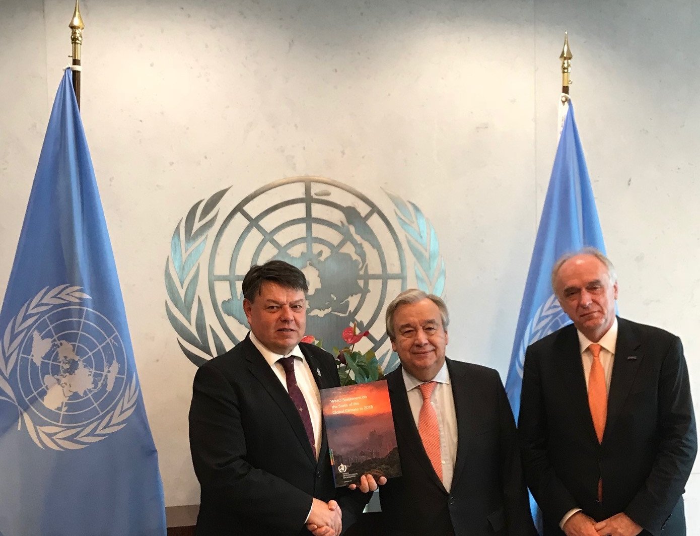 Photo of WMO Secretary General and its Chief Scientist meeting the UN Secretary-General